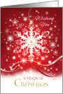 Magical Christmas, Stylish White Snowflake, with Snow, on Red card
