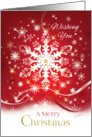 Business Christmas, Elegant White Snowflake, with Snow, on Red card