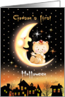 Halloween, Godson's 1st - Cute Baby Sitting On Moon Over Houses card