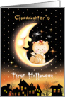 Halloween, Goddaughter's 1st, Cute Baby Sitting On Moon Over Houses card