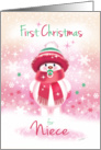 1st Christmas, Niece - Cute Snow Baby sucking Pacifier card