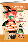 Halloween, Granddaughter - Cute Cupcake Witch with Black Cat card