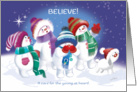 Christmas, Believe - Snow Children & Snow Puppy see Santa in Sky card