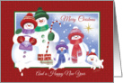 Christmas & New Year - Cute Snowman Family with Snow Puppy card