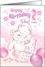 1st Birthday, Baby Girl - Cute Baby Girl Cuddles Her Teddy card