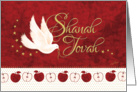 Rosh Hashanah, Shanah Tovah - Peace Dove and Apples on Red card