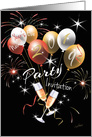 2019, New Year's Eve, Party Invitation- Balloons, Fireworks, Champagne card