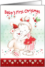 First Christmas, Girl - Cute Baby Girl Cuddles Her Teddy card