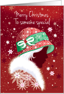 Christmas, Someone Special - Girl in Fashionable Red Hat card
