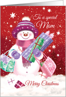 Merry Christmas Mom, Snow woman Shopping. card