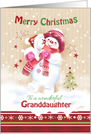 Christmas Granddaughter. Cute Snow Child Hugging her Snow Puppy. card