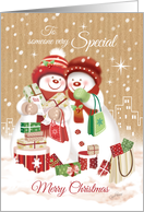 Christmas, Someone Special. Two Snow Women Shopping in the City. card