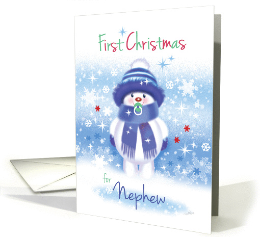 1st Christmas Nephew - Cute Snow Baby sucking Pacifier card (1201042)