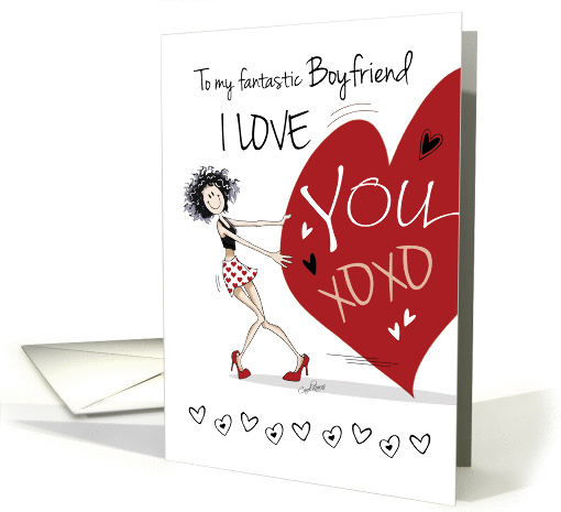 Valentine for Boyfriend - Funny Girl Pulling Big Red Heart card