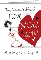 Lesbian, Valentine for Girlfriend - Funny Girl Pulling Big Red Heart card