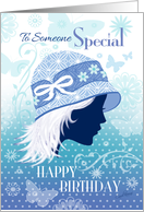 Birthday for Someone Special - Silhouetted Female Face in Blue Hat card
