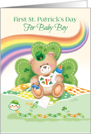 1st St. Patrick's Day Baby Boy -Teddy Sitting against Shamrock card
