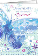 Birthday for Friend - Blue Decorative Butterfly with Flowers card