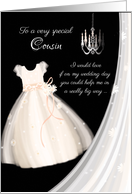 Flower Girl Request Cousin - Girl's Dress, Chandelier and Veil card