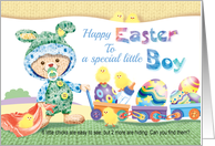 Happy Easter Little Boy - Woolly Boy Bunny with Chicks and Eggs card