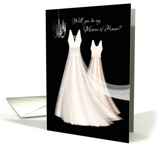 Matron of Honor Request - 2 Cream Dresses with Chandelier card
