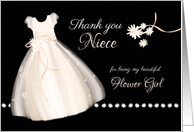 Flower Girl Thank You to Niece - Cute Girl's Dress and Daisies card