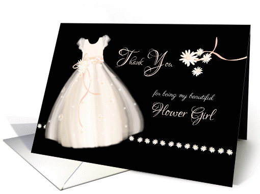 Flower Girl Thank You - Cute Girl's Dress and Daisies card (1256228)