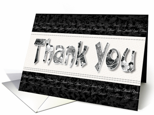 Blank Thank You - Black & White Floral Thank You Words card (1264688)