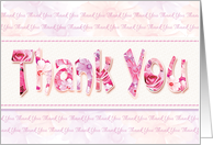 Thank You, Blank inside - Pink Floral Thank You Words card