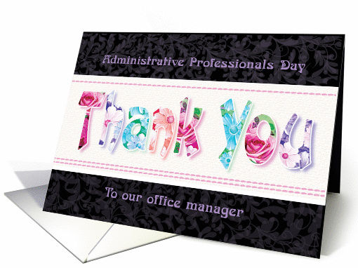 Office Manager, Admin Pro Day - Floral Thank You on Black card