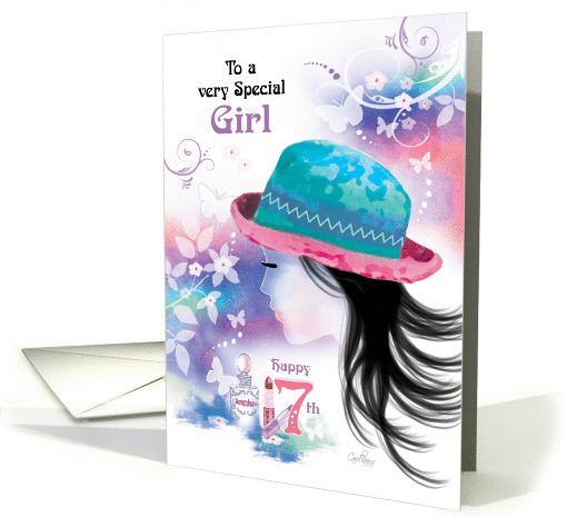Special Girl, 17th Birthday - Girl in Hat with Decorative Design card