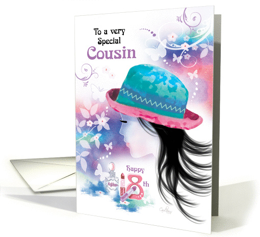 Cousin, 18th Birthday - Girl in Hat with Decorative Design card