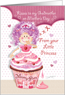 Godmother, Mother's Day From Young Goddaughter - Princess Cupcake card