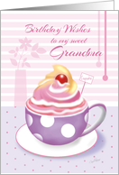 Birthday Sweet Grandma - Lilac Cup of Cupcake card