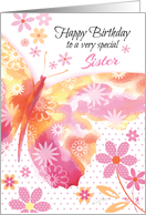 Sister, Birthday - Pink and Yellow Butterfly card