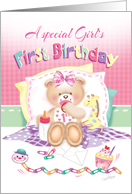 Special Girl's 1st Birthday - Girl Teddy, Pillows Giraffe card
