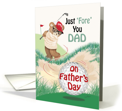 Dad, Father's Day - Golfing Teddy at Bunker card (1282196)