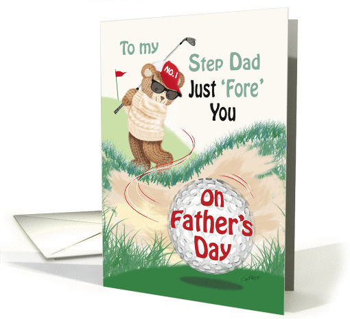 Step Dad, Father's Day - Golfing Teddy at Bunker card (1286650)