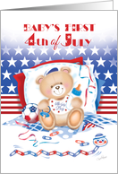4th of July, Baby's Boy's 1st - Teddy with Stars and Stripes card