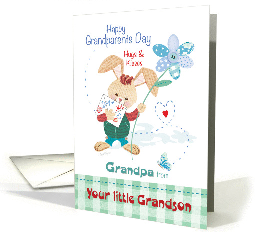 Grandpa, Grandparent's Day, from Grandson - Bunny with Flower card