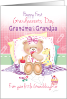 1st Grandparents Day, From Granddaughter - Girl Teddy with Giraffe card