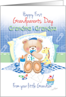 1st Grandparents Day, From Grandson - Boy Teddy with Giraffe card