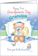 Grandpa,1st Grandparents Day, From Grandson -Boy Teddy with Giraffe card