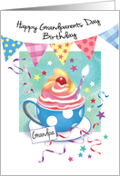 Grandpa, Grandparents Day Birthday - Cup of Cupcake & Buntings card
