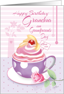 Grandma, Grandparents Day Birthday - Lilac Cup of Cupcake & Rose card