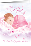 Announcement, Baby Girl - Baby Girl Asleep on Cloud card