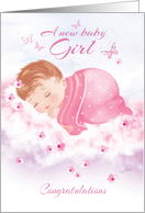 Congratulations, New Baby Girl - Baby Girl Asleep on Clouds card