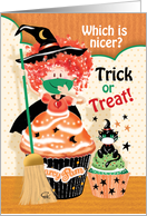 Halloween, Trick or Treat - Cute Cupcake Little Witch with Cupcake Cat card