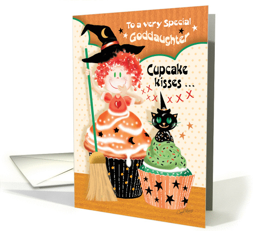 Halloween, Goddaughter - Cute Little Cupcake Witch with Cat card
