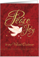 Business Christmas to Customer - Dove with Peace and Joy, Words card